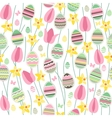 Seamless pattern with easter willow and painted vector image