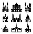 cartoon silhouette black churches and temples icon vector image