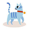 cute striped blue cartoon cat isolated on white vector image
