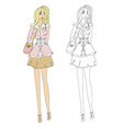 Fashion girl sketch vector image