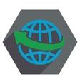 Worldwide Arrow Flat Hexagon Icon with Long Shadow vector image