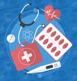 Medicine flat icons set Pills box tablets pill vector image