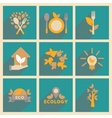Concept of flat icons with long shadow ecology vector image