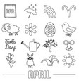 april month theme set of simple outline icons vector image