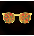 Glasses with decorative elements on black vector image vector image