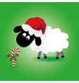 christmas sheep with candy stick and santa hat vector image