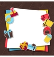 Celebration background or card with sticker gift vector image