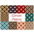 damask floral pattern seamless set vector image