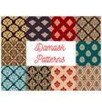 damask floral pattern seamless set vector image