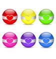 glossy heart spheres vector image