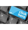 Keyboard with click here button internet concept vector image