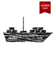 Ship icon with chalk effect vector image