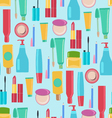 pattern with Beauty and cosmetics tools vector image