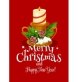 Christmas holiday card with xmas candle and pine vector image