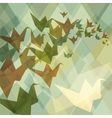 Origami paper birds geometric retro background vector image vector image