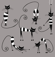 Funny striped cats collection for your design vector image vector image