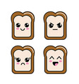 kawaii halved bread faces icon vector image