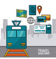 travel around the world train passenger ticket vector image