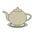 color image cartoon porcelain tea kettle for hot vector image