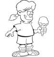 Cartoon girl holding a ice cream cone vector image