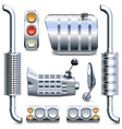 Chromed Truck Parts Set 2 vector image