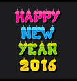 creative happy new year 2016 greeting card design vector image