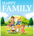 Family playing in the park vector image vector image