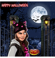 Girl in Halloween night at the field with pumpkins vector image