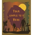 Halloween poster with zombie silhouettes vector image
