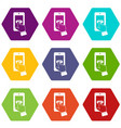 playing games on smartphone icon set color vector image