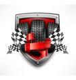 Racing symbols on shield vector image
