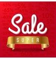 Super sale mega sale red banner with golden vector image