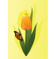 tulip and a butterfly vector image vector image