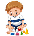 little boy playing shapes vector image