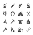 Blacksmith Icons Set vector image