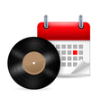 Vynil disc and calendar vector image vector image