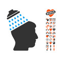 brain shower icon with dating bonus vector image