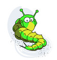 caterpillar cartoon hand drawn image vector image