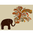 elephant with floral pattern vector image