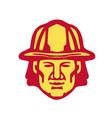 Fireman head front retro vector image