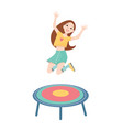 happy girl jumping on a trampoline vector image