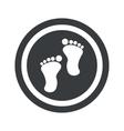 Round black footprint sign vector image