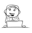stick man cartoon of female customer support vector image