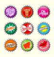 retro bottle cap designs 2 vector image vector image