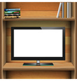 TV widescreen lcd monitor on wooden shelf with vector image vector image