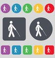 blind icon sign A set of 12 colored buttons Flat vector image
