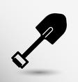 Silhouette shovel to work in the garden button vector image