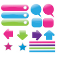 set of glossy web elements vector image