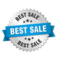 best sale 3d silver badge with blue ribbon vector image