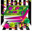 Happy birthday greeting card Text on folded vector image